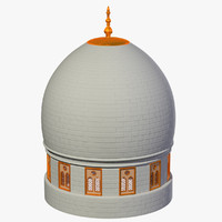 white golden dome 3d 3ds