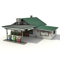 3d grocery gas station model