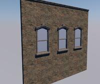 3d window brick wall sash model