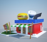 cartoon burger 3d max