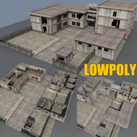 weathered factory building scenes 3d model