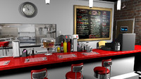 3d stylized cartoon diner model