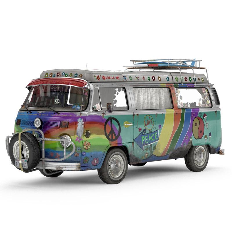 volkswagen t2 hippie van 3d model. Black Bedroom Furniture Sets. Home Design Ideas