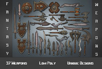 3ds max fantasy weapon daggers hammer