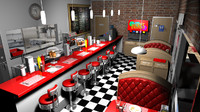 stylized cartoon diner 3d model
