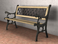 3d model garden bench