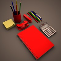 3d model office supplies