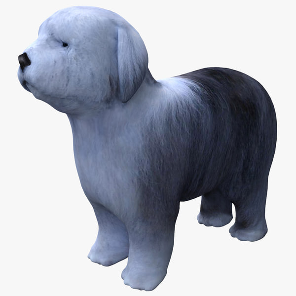 Bobtail Dog Old English Sheepdog OES herding shepherds bob-tail shaggy fuzzy furry pet puppy vray canine k9