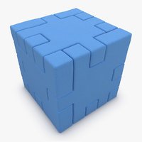 3d happy cube blue