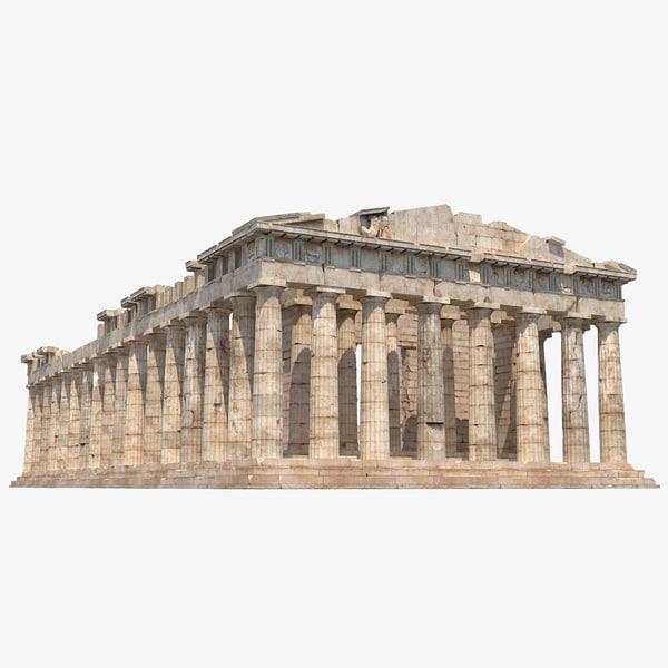 Parthenon 2 landmark Athenian Acropolis greek temple greece athena classic tourist attraction destination sculpture treasury vray structure building