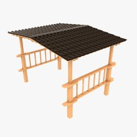 3d wooden canopy wood model