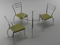 3d kitchen table chair