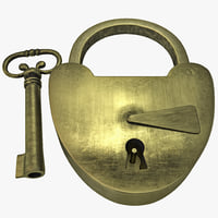 3d antique key padlock model