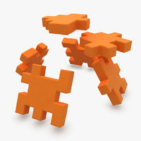 happy cube orange animation 3d obj