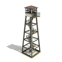 3d low-poly guard tower