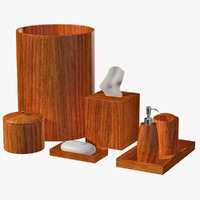 modern wooden bathroom accessory 3d model
