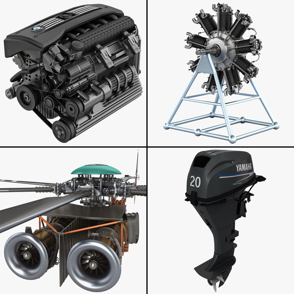 Vehicle Engine Collection Bmw Car 2 Bristol Jupiter Helicopter Outboard 4 machine motor vray
