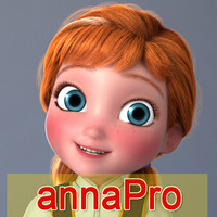 anna girl cartoon 3d model
