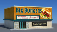 3d cartoon restaurant burger model