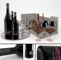 3d model bottles wine tinted glasses