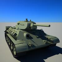 3d soviet tank t-34-76 model