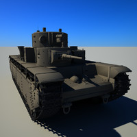 3d model of soviet tank t-35a