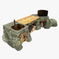 stone barbecue table 3d model