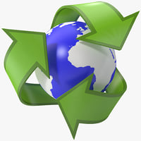 Recycling Symbol 2 insignia sign reuse reduce arrows vray