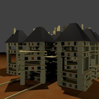 cube complex apartments 3d model