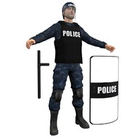 riot police officer 3d obj