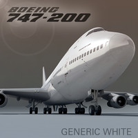 3d boeing 747-200 generic white model
