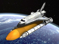 NASA Discovery Space shuttle with rocket and satelite