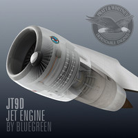 3d jt9d jet engine model