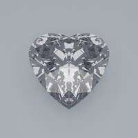 3d model heart cut gemstone diamond