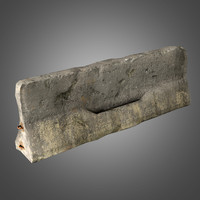 old concrete barrier 3d obj