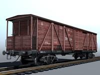 4-axle cargo boxcar 3d model