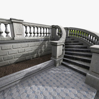 3d classical stone stairs