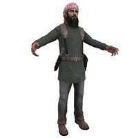 3d model of mujahideen man weapons