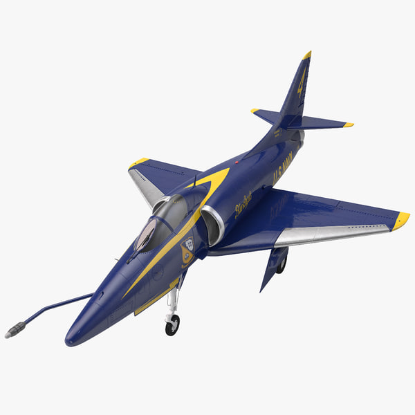 Attack Aircraft A-4 Skyhawk Blue Angel airplane plane transport transportation united states navy stunt aerobatic flyover marine corps a4d vray