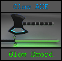 colorable glow axe sword 3d model