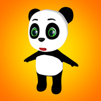 3d model of mini panda cartoon