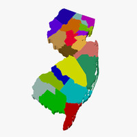 counties new jersey 3d model