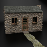 3d old fashioned stone cottage