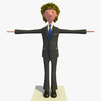 3d tim business man cartoon character model
