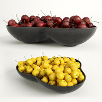 3d model red yellow cherries