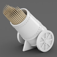cannon toothpick holder 3d model
