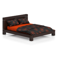 maya wooden bed orange black