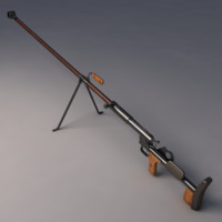 ptrd-41 degtyaryov anti-tank rifle 3d model