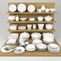 kitchen bowls plates set 3d model