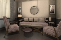 3ds max set modern furniture italian